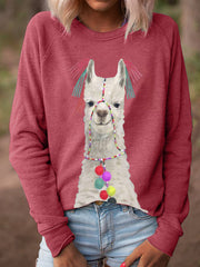 Women Alpaca Print Long Sleeves Casual T-Shirts