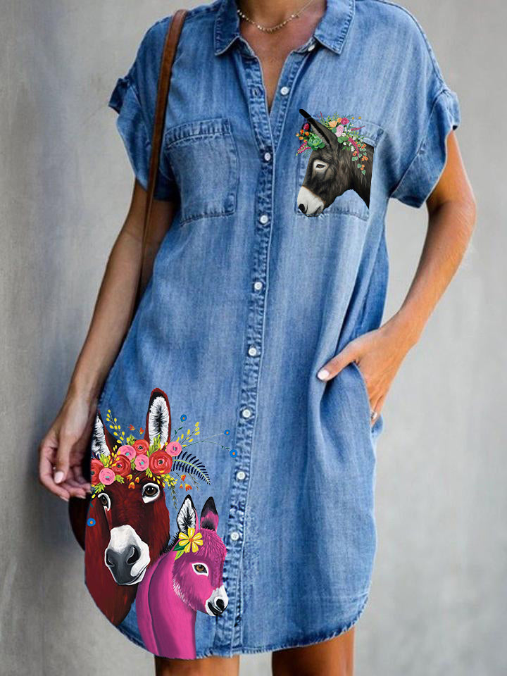 Women Donkey Animal Print Pockets Denim Dresses
