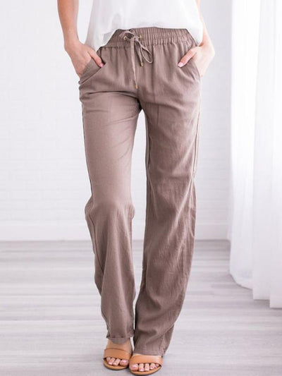 Large size cotton and linen casual pants for women