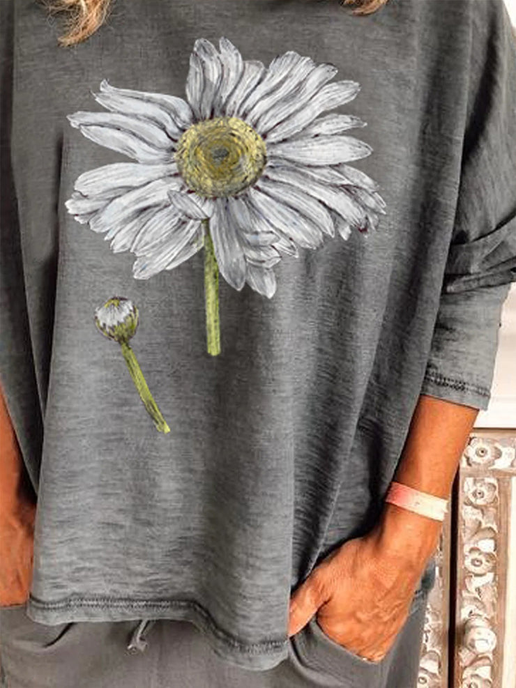 Gray Long Sleeve Crew Neck Floral Cotton Shirts & Tops