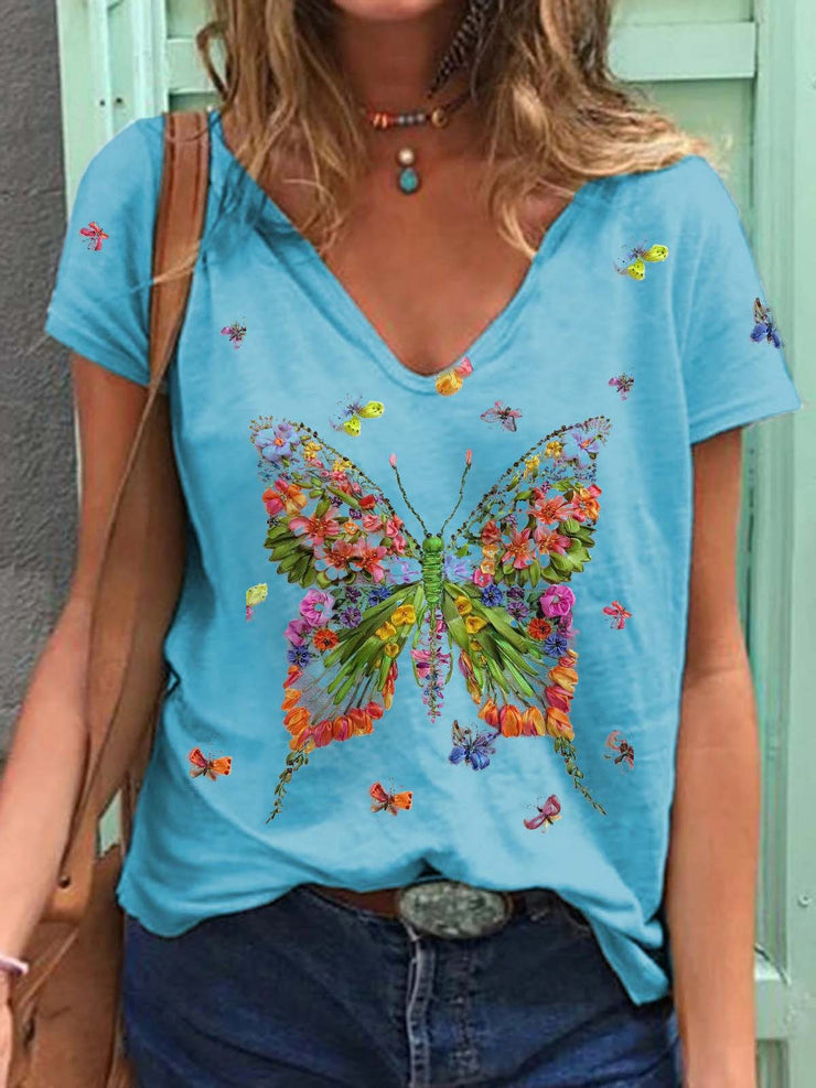 Flowers Butterfly Print Cozy T-shirt