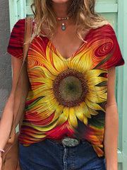 Painted Sunflower Print V-Neck T-shirt