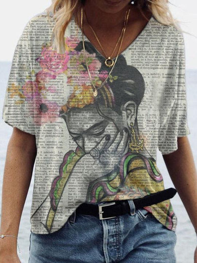 Women's Frida Kahlo Upcycled Dictionary Art Print T-shirt