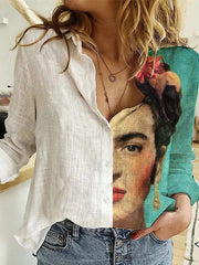 Frida Kahlo printed cotton and linen casual shirt