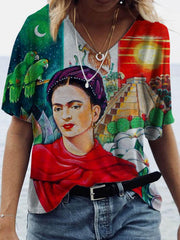 Women's Frida Kahlo Portrait Print V-Neck Top