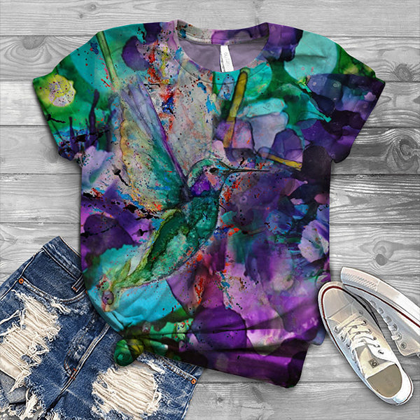 Women's Bird Print Casual T-Shirt