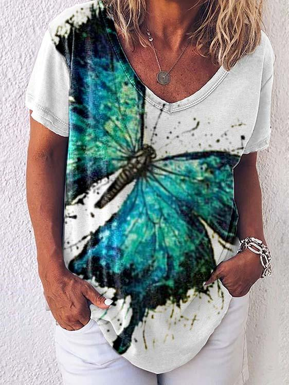Women's Color Butterfly Print T-shirt