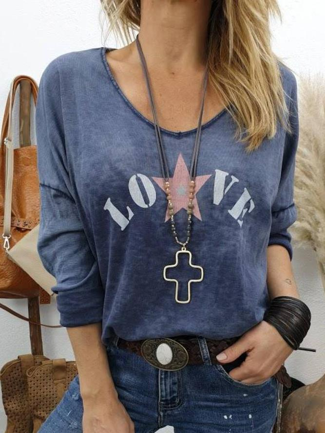 Long Sleeve Print Casual shirts with letter & V-necks