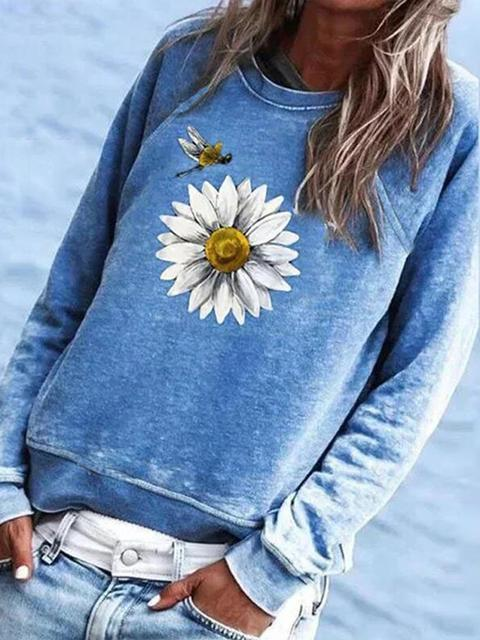 Long Sleeve Round Neck Print Sweatshirt