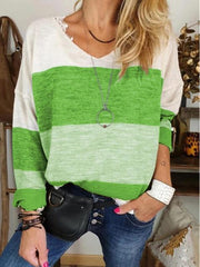 V Neck Long Sleeve Color Block Casual T-shirt