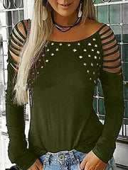 Long Sleeve Rivet Hollow Out Long Sleeve T-shirt