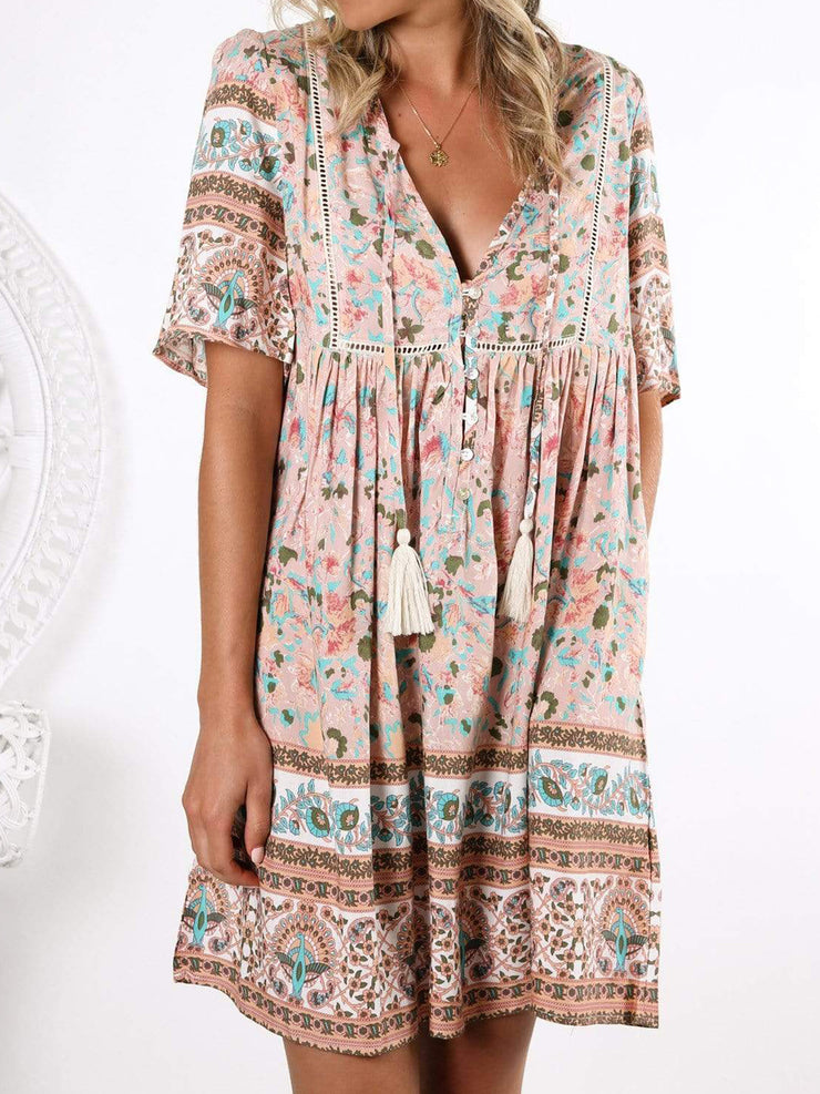 Women Floral Print V-Neck Short Sleeves Tribal Dresses