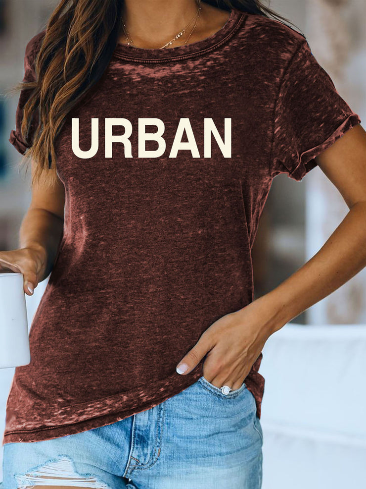 Women's Short Sleeve Round Neck Printed Casual Tee Shirt