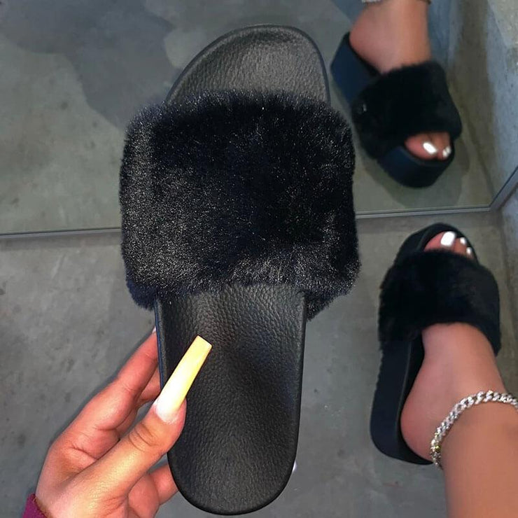 Women's Fashion Faux  Fluffy Fur Hit Color Open Toe Slip On Platform Slippers