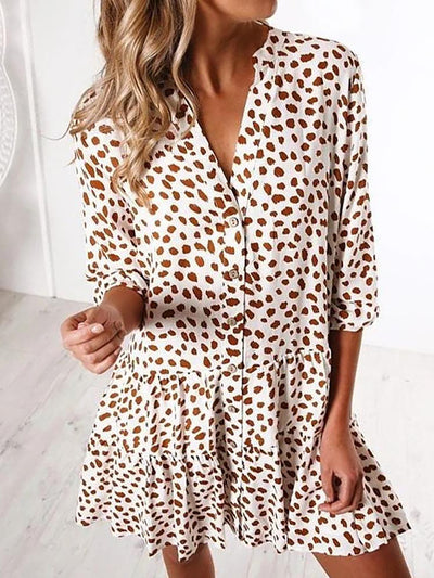 Chic V-Neck 3/4 Sleeve Loose Printed Shirt Dress