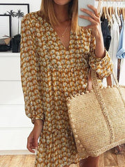 V-Neck Long Sleeve Loose Yellow Printed Mini Dress