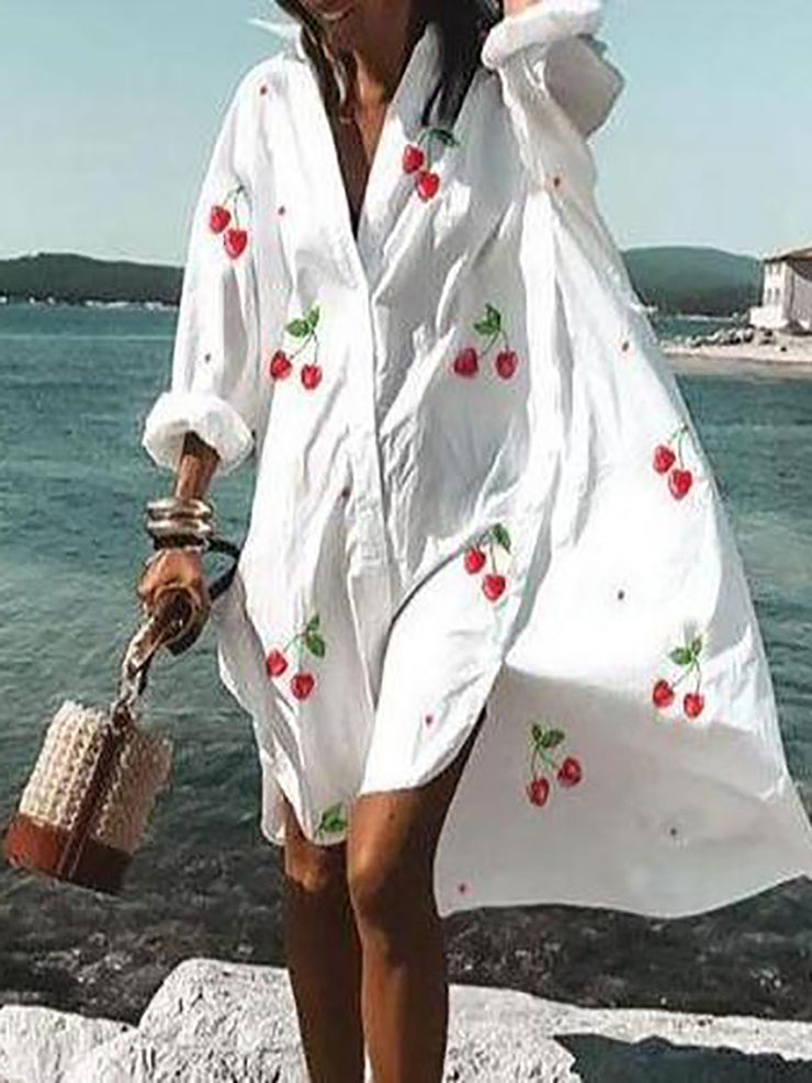 Fashion Loose V-Neck Long Sleeve Printed Beach Dress
