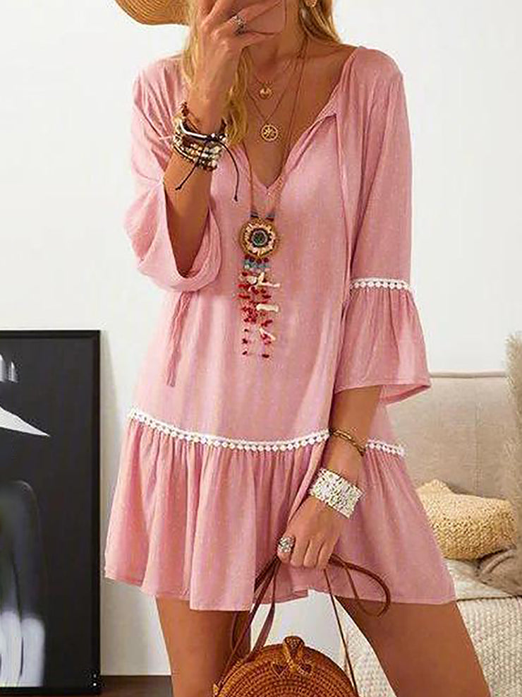 Chic V-Neck 3/4 Sleeve Pink Printed Pleated Dress