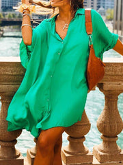 Oversized Solid Color Loose Mini Dress