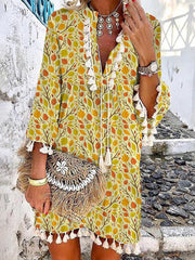 Vacation Style V-Neck Printed Beach Dress