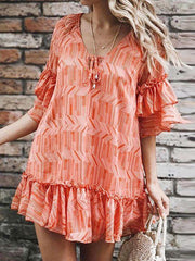 Classy Tiered Sleeve Printed Ruffled Mini Dress