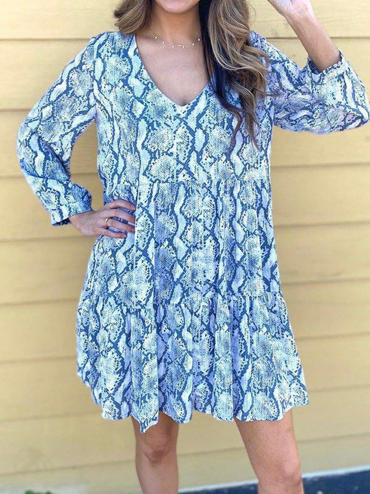 V-Neck Long Sleeve Printed Mini Dress