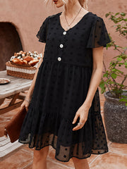 Women's V Neck Short Sleeve Plus Size Slim Fit Palka Dot Dress