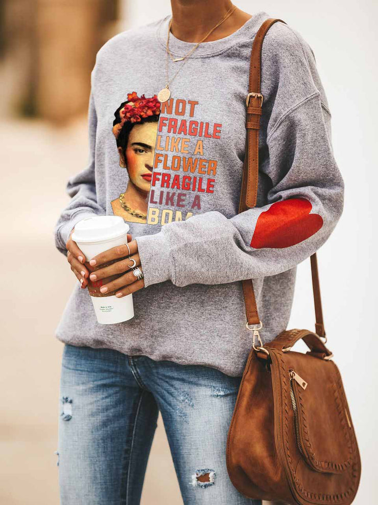 Women's Frida Kahlo Not Fragile Like A Flower Fragile Like A Bomb Heart Print Sweatshirt