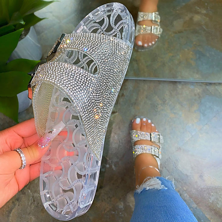 Women's Casual Glitter Rhinestone Open Toe Slip On Slippers