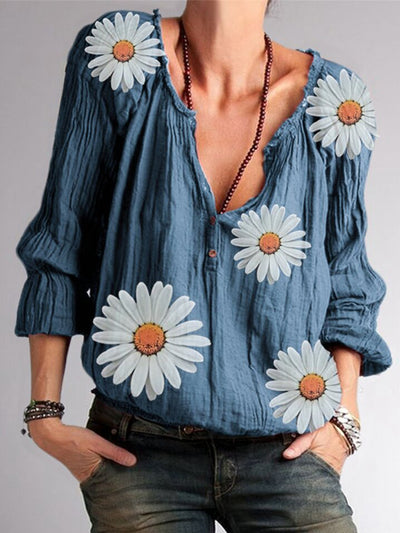 Women Floral Long Sleeves V-Neck Casual Blouses