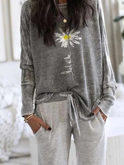 Women'S Gray Patchwork Long Sleeve Sweatshirt