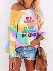 Women'S Round Neck Tie-Dye Printing Long-Sleeved T-Shirt