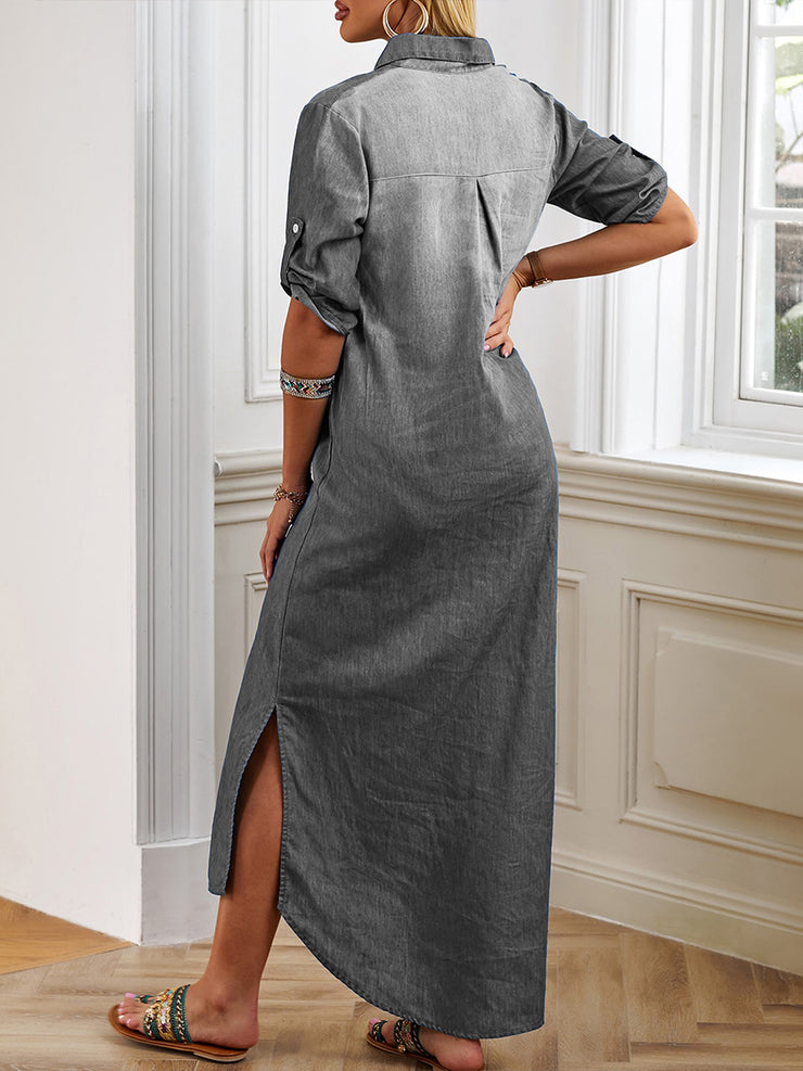 Women'S Half Sleeve Split Hem Maxi Dress