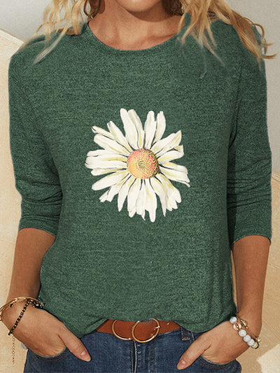 Women Floral Long Sleeves Casual Fall Tees
