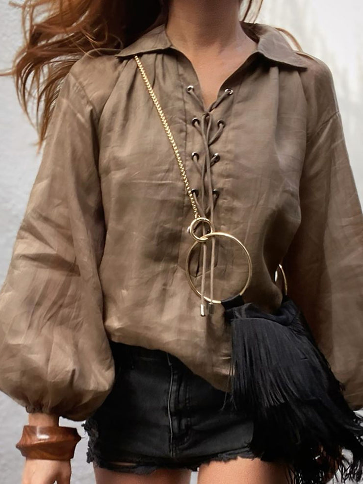 Solid Eyelet Long Sleeve Women Shirts & Blouses