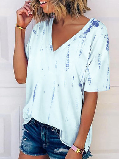 Women's V Neck Short Sleeve Plus Size Casual T-Shirt