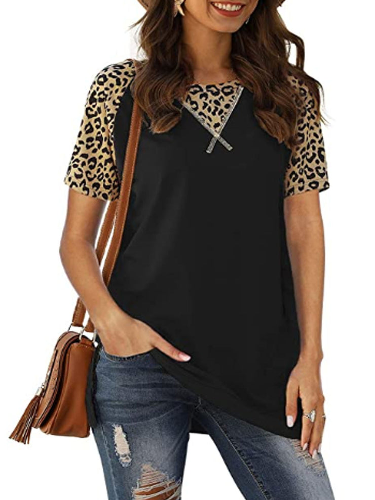 Women's Round Neck Pantherine Casual T-Shirt