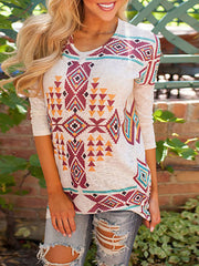 Women'S Crew Neck Geometric Print Long Sleeve T-Shirt
