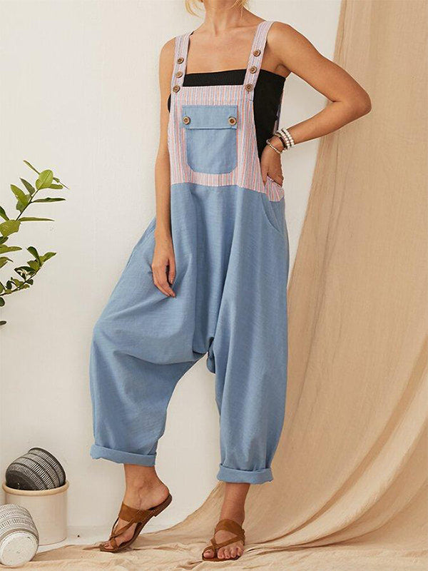 Stripe Patchwork Straps Harem Jumpsuit For Women