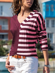Women'S Stripe-Blue Casual  Long Sleeve Shirts