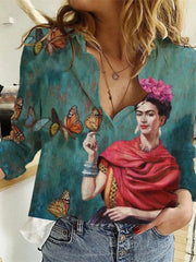 Women's Frida Kahlo Butterfly Print Blouse Shirt