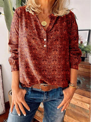 Women's Print V-Neck Long Sleeves Casual Blouses
