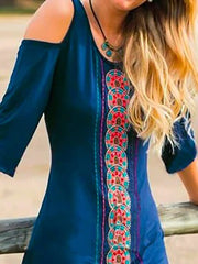 Blue Holiday Cotton 3/4 Sleeve Embroidery Dresses