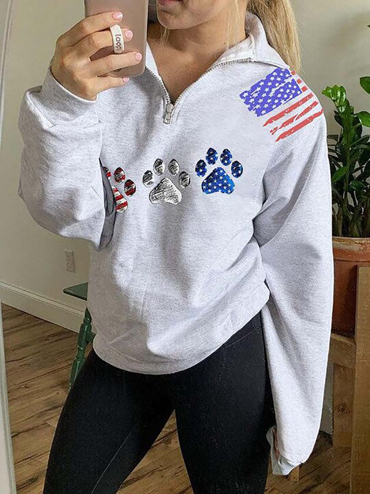 Dog Paw Printed Long Sleeve Women Sweatshirts