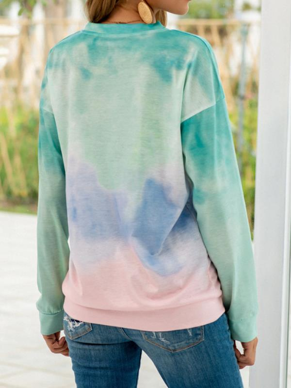 Women's Tie Dyed Daisy Round Neck T-shirt