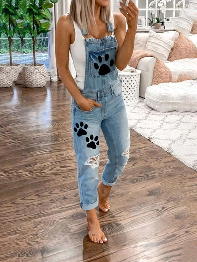 Paws Printed Pockets Women Denim Jumpsuits & Rompers