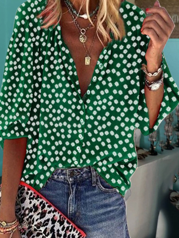 Women's V Neck Long Sleeve Plus Size Slim Fit Floral Casual Shirt
