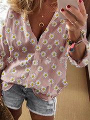 Women'S Casual Long Sleeve Floral Shirts & Tops