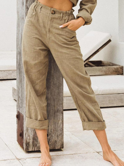 Women's Linen Solid Color Loose Casual Pants