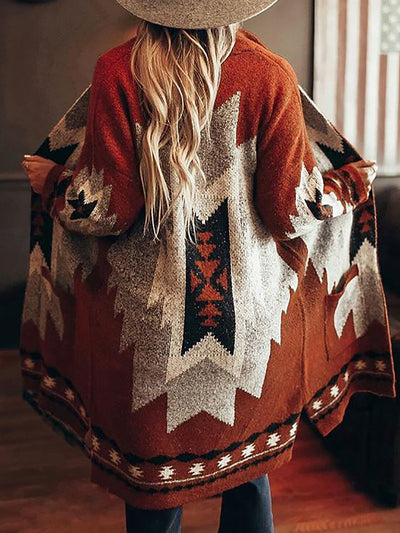 Vintage Tribal Knitted Cardigans Sweater Coats